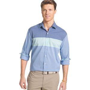 IZOD new gingham blue dress shirt M NWT
